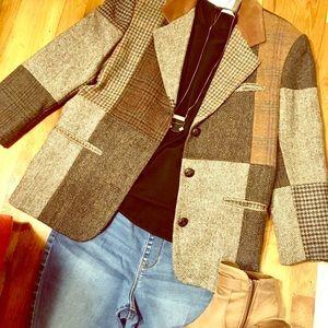 Vintage brown patchwork blazer, size 8